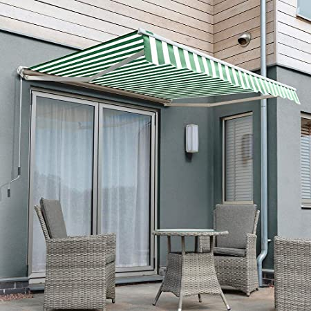 Primrose 4 0m X 3 0m Manual Electric Awning Half Cassette Diy Patio Awning Gazebo Canopy 13ft 1 Complete With Fittings And Winder Handle Manual Green And White Stripe Amazon Co Uk Garden Outdoors