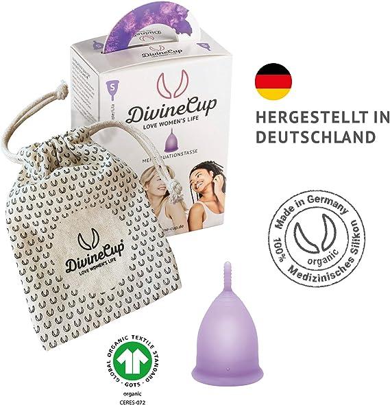 DIVINE CUP copa menstrual tamaño S, pequeña - Clínicamente probada, nota MUY BIEN - 100% Made in Germany - Lila, disponible en cuatro colores - ...