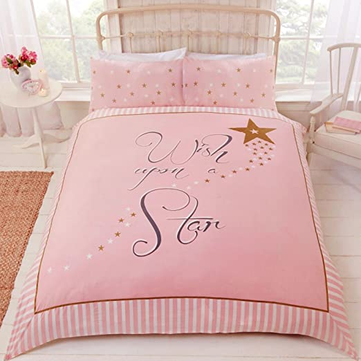 Pillowcases Wish Upon A Star Pink Gold Stripe Duvet Quilt Cover Bedding Set