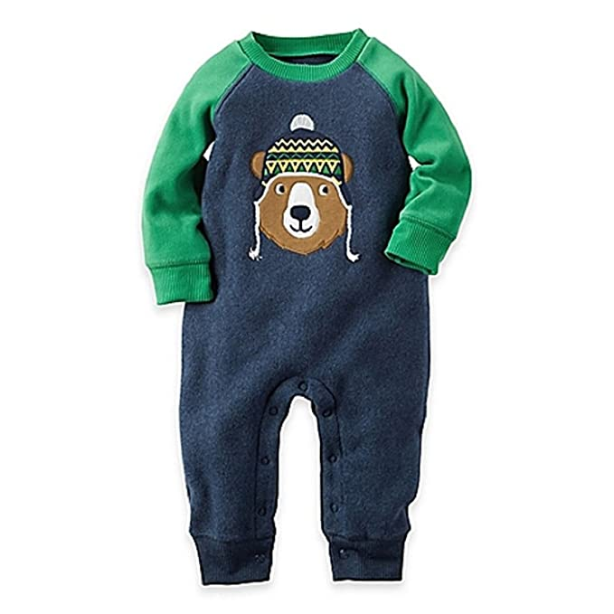 938e2ec13 Amazon.com: Carters Baby Boy Size Newborn Bear Fleece Suit, Blue ...