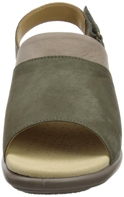 Hotter mit Damen Augusta Offene Sandalen mit Hotter Keilabsatz Braun (Dk Stone Multi 098) 80651f
