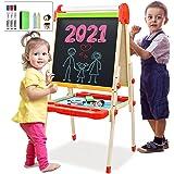 Joyooss Kids Wooden Art Easel with Paper Roll -Double Sided Whiteboard & Chalkboard Children Easel -Adjustable Height Magneti