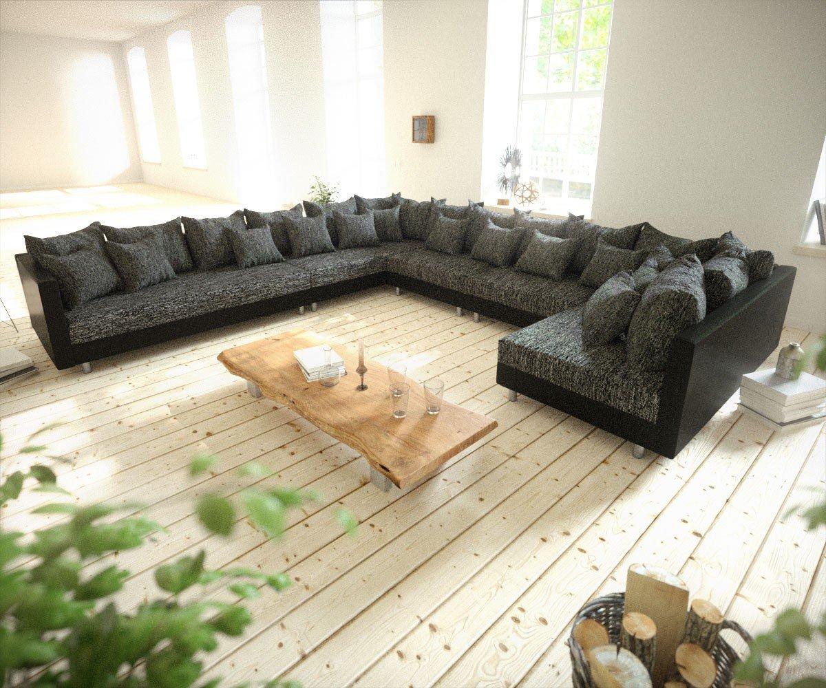 Couch Clovis Xxl Schwarz Ottomane Links Wohnlandschaft Modular Bestellen