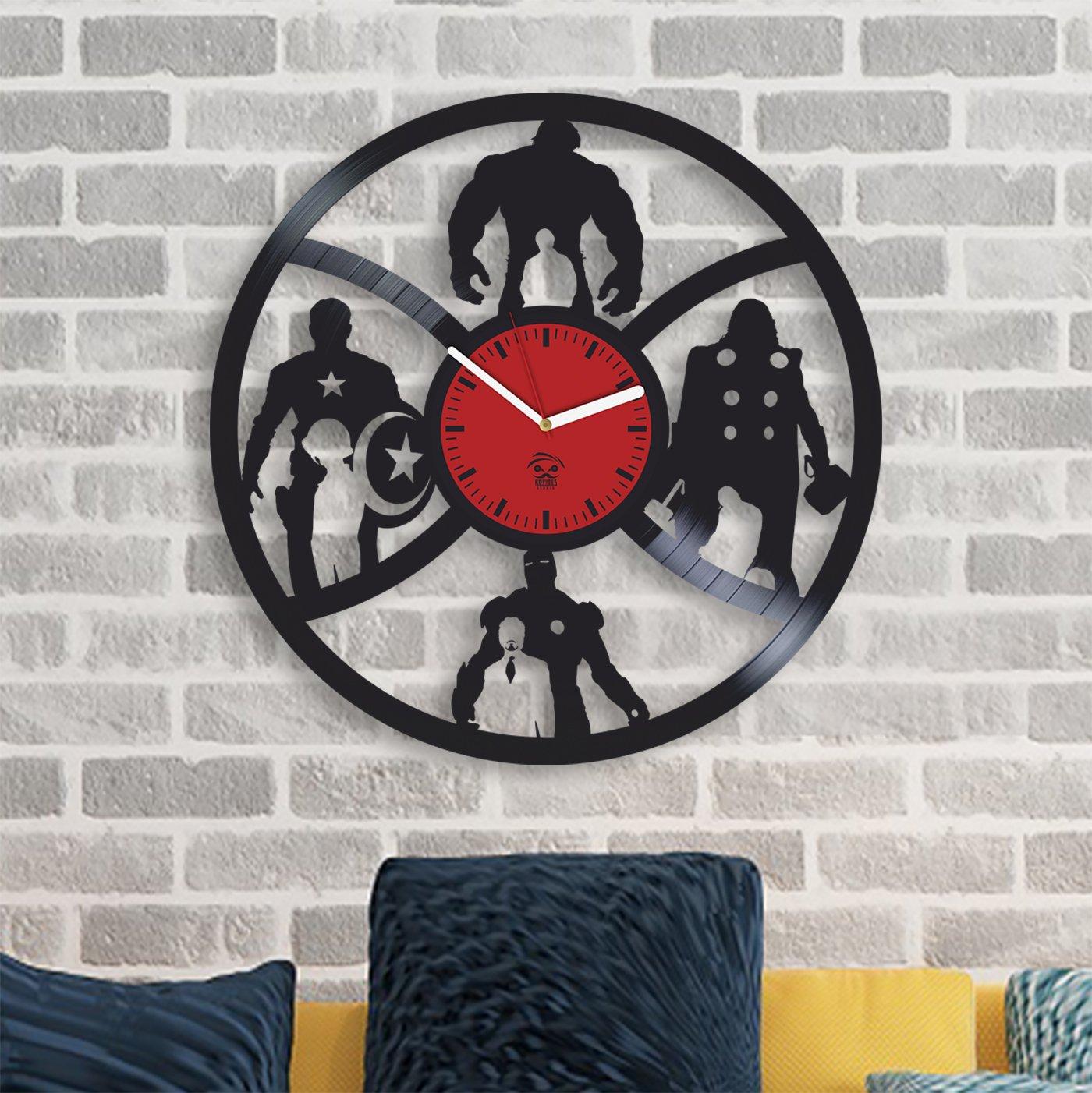 Amazon.com: Kovides The Avengers Clock, Earths Mightiest Heroes, Iron Man, Hulk, Vinyl Wall Clock, Comics Marvel DC Movie, Vinyl Wall Clock, ...