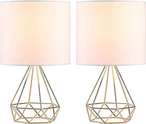 CO-Z Modern Table Lamps for Living Room Bedroom Set of 2, Gold Desk Lamp  with Hollowed Out Base and White Fabric Shade, 16 Inches Bedside Lamps for  ...