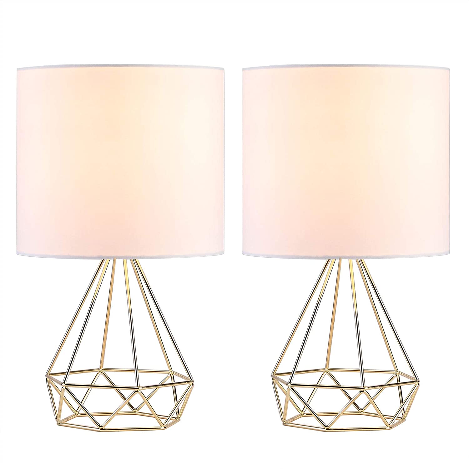 CO-Z Modern Table Lamps for Living Room Bedroom Set of 2, Gold Desk Lamp with Hollowed Out Base and White Fabric Shade, 16