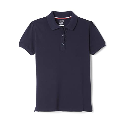 the latest 15b75 ac06a French Toast Girls  Big Short Sleeve Stretch Ruffle Polo, Navy, L (10