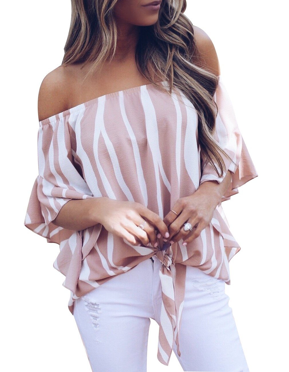 Women's Striped Off The Shoulder Bell Sleeve Tops Shirt Tie Knot Chiffon Casual Blouses (XL, Striped-Pink)