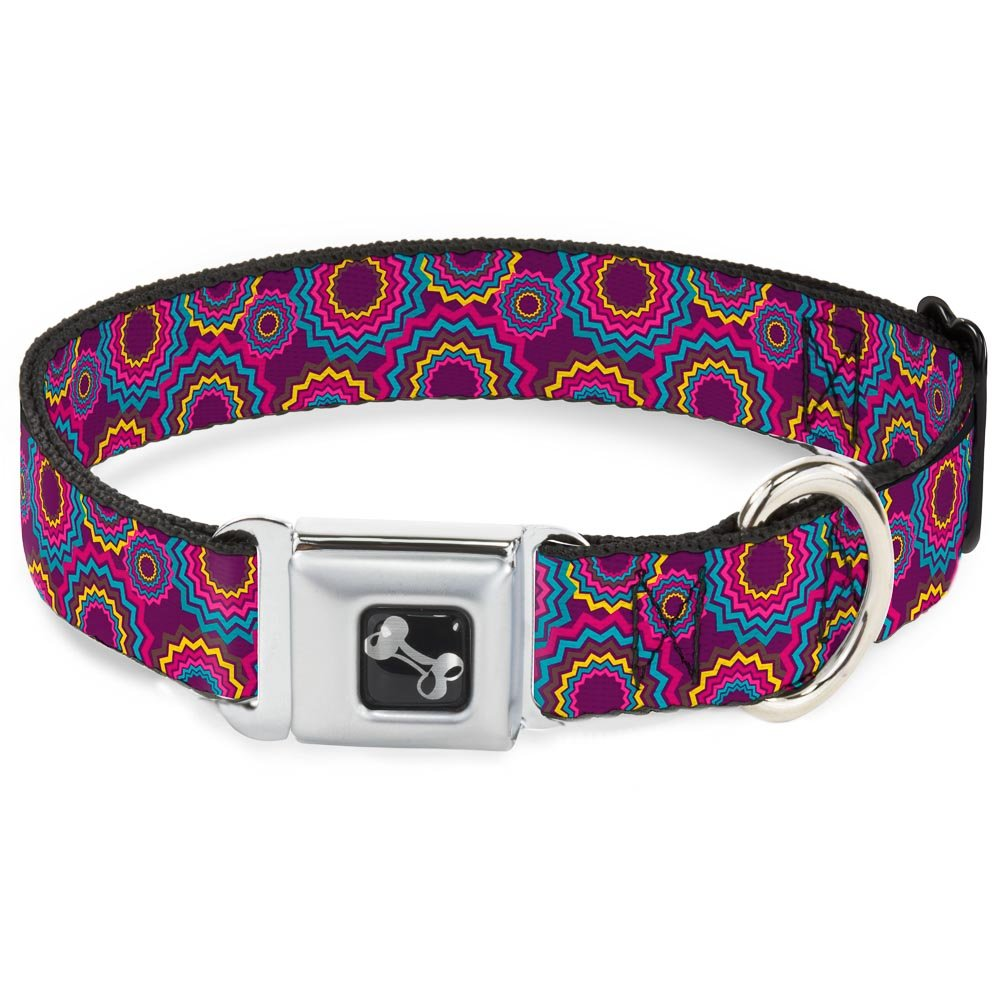 Buckle-Down Jagged Rings Purples bluees Yellow Dog Collar Bone, Wide Small 13-18