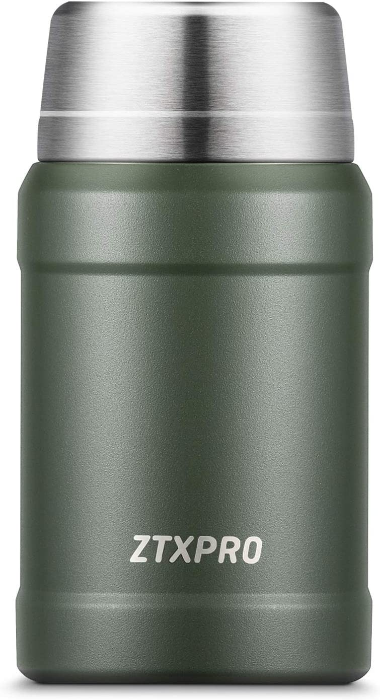 Food Thermos 27 oz, ZTXPRO Insulated Lunch Container for Hot Food, Stainless Steel Wide Mouth Food Jar for Lunch, Leak Proof Soup Containers with Folding Spoon for Kids/Adults - Olive