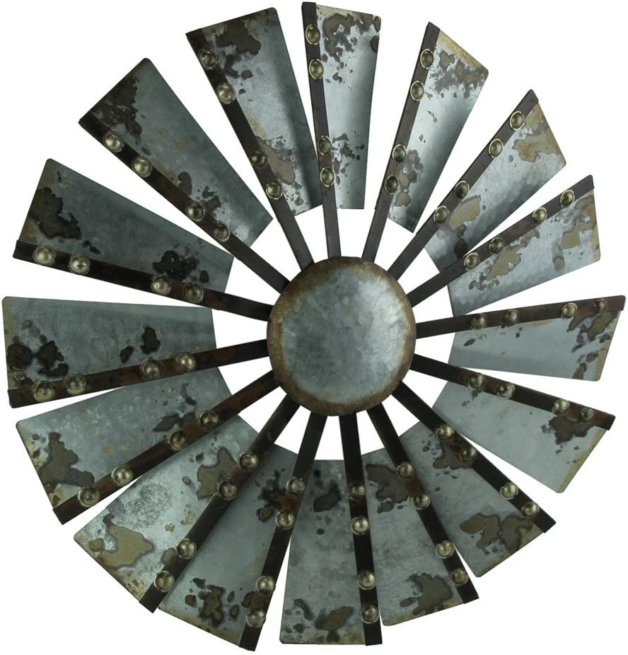Direct 23 Galvanized Metal Wind Mill Wall Sculpture Farmhouse Room Decor