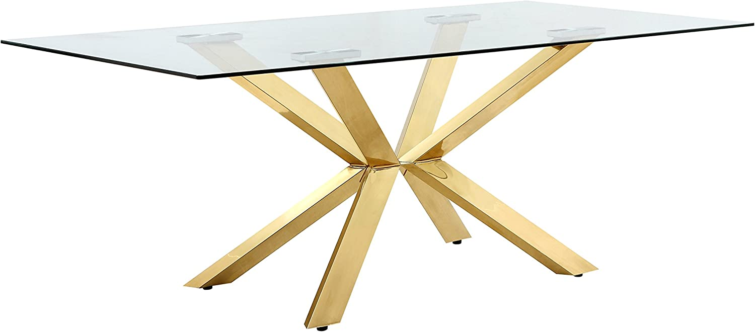 Amazon Com Meridian Furniture Capri Collection Modern Rectangular Dining Room Table With Rich Gold Stainless Steel Contemporary Style Base And Glass Top 78 W X 39 D X 30 H Tables