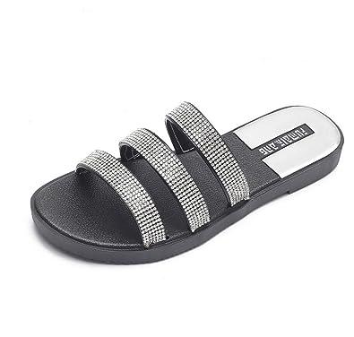 f7b2adef493af DANDANJIE Women Slippers Bright Cool Sandals Fashion Wild Ladies Sandals  Flash Diamond Slippers Spring Summer (