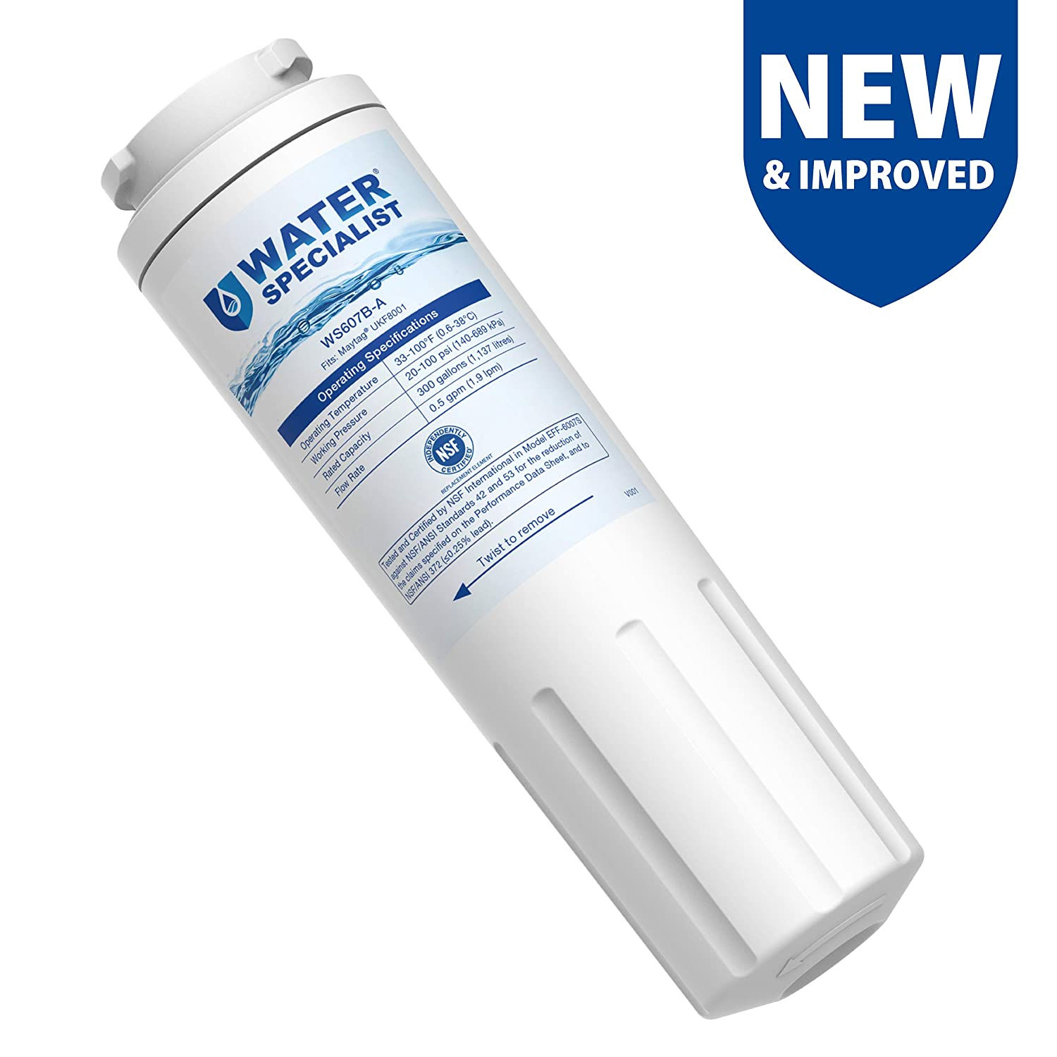 Jenn-Air PUR UKF8001AXX-750 UKF8001AXX Pack of 3 Waterspecialist UKF8001 Refrigerator Water Filter Filter 4 WS607B-3 4396395 UKF8001AXX-200 Replacement for Maytag