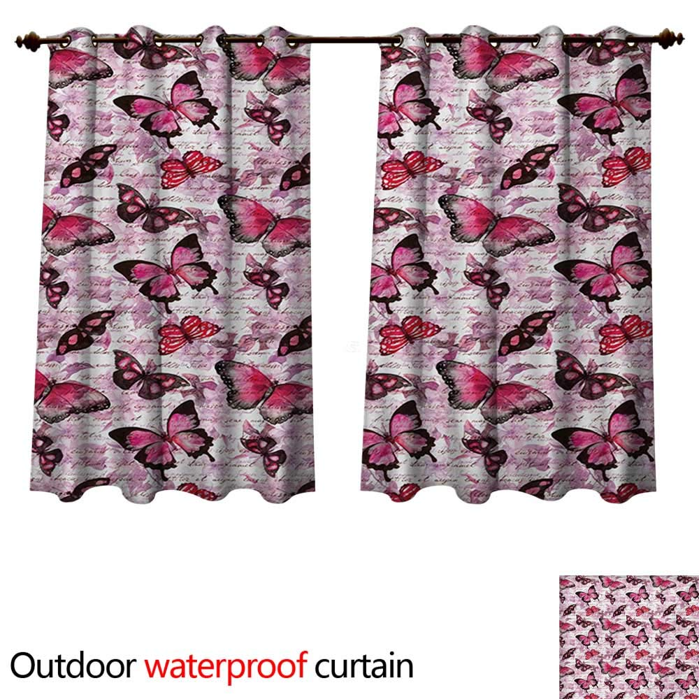 WilliamsDecor Retro Home Patio Outdoor Curtain Hazy Butterflies on Nostalgic Background Classic Paintbrush Design Print W63 x L63(160cm x 160cm)
