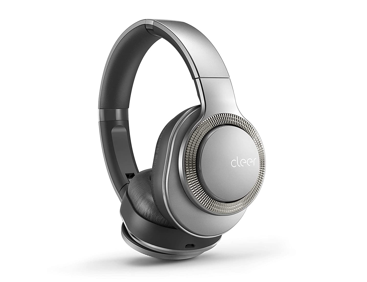 Cleer Flow Bluetooth Wireless Headphones, Hybrid Noise-Cancelling, Over-Ear, Auto-Pause – Silver