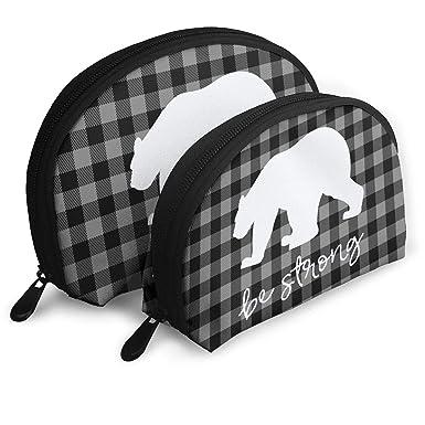 2cf4573563 Amazon.com  Black And Gray Dark Plaid Pattern Bear Be Strong Portable Shell  Makeup Storage Bag Travel Waterproof Toiletry Organizer  Clothing