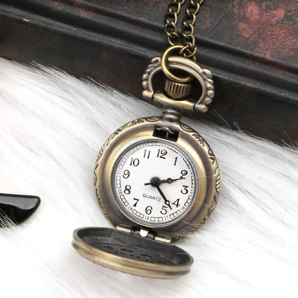 zhiwenCZW Reloj de Bolsillo Cuarzo Araña Web Bronce Creativo Moda Vintage Colgante Encanto Cubierta Hueca Mujeres Hombres Partido Mini Tamaño Collar ...
