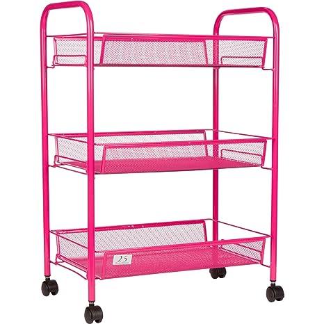 3 tier utility cart lexington tier utility cart kitchen storage with rolling wheels metal mesh wire basket trolley amazoncom