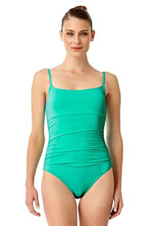 1b9a4fee884 Anne Cole Women's Live in Color Shirred Lingerie Maillot One Piece Swimsuit  Green at Amazon Women's Clothing store: