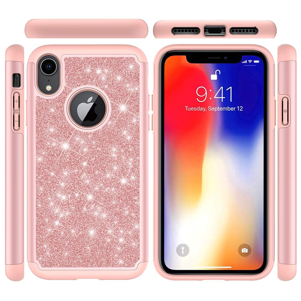 iPhone Xr Case, Xr Case, Shockproof Dual Layer TPU+PC Case Hybrid Material Glitter Cool Design Full Body Protective Case for iPhone Xr - Rose Gold by ZSTVIVA