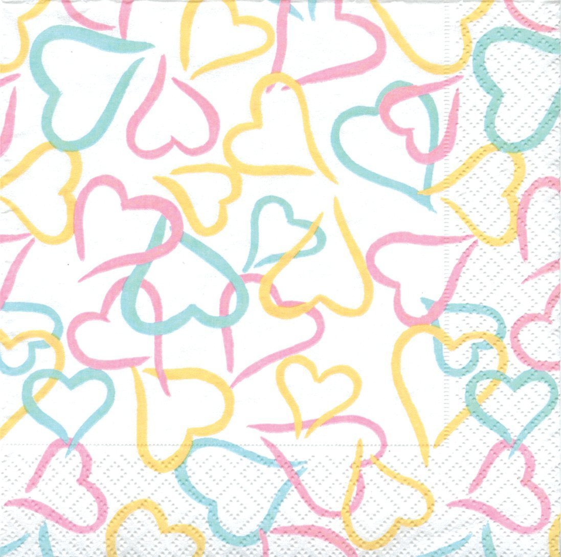 Entertaining with Caspari 20-Pack Lots of Love Cocktail Napkins, Pastel