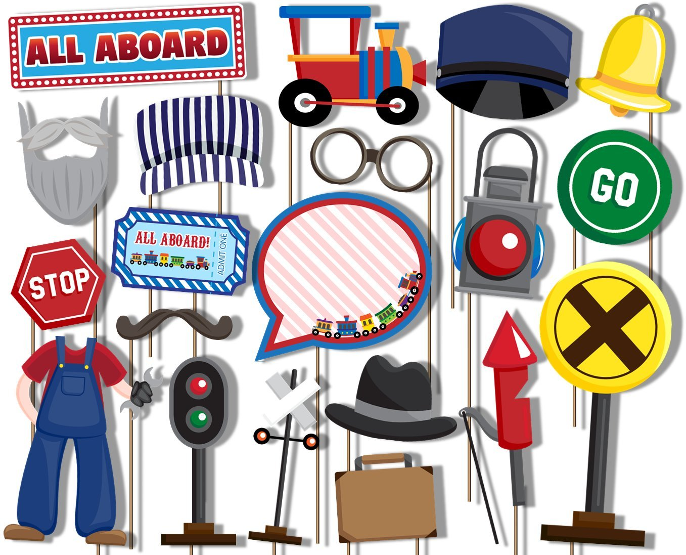All Aboard! Train Photo Booth Props Kit - 20 Pack Party Camera Props Fully Assembled