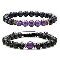 JSDDE 7 Chakra Unisex Women Reriki Energy Healing Crystal Stone Bracelet Lava Stone Aromatherapy Essential Oil Diffuser Bracelet Mala Meditation Religious Stretch Bracelet