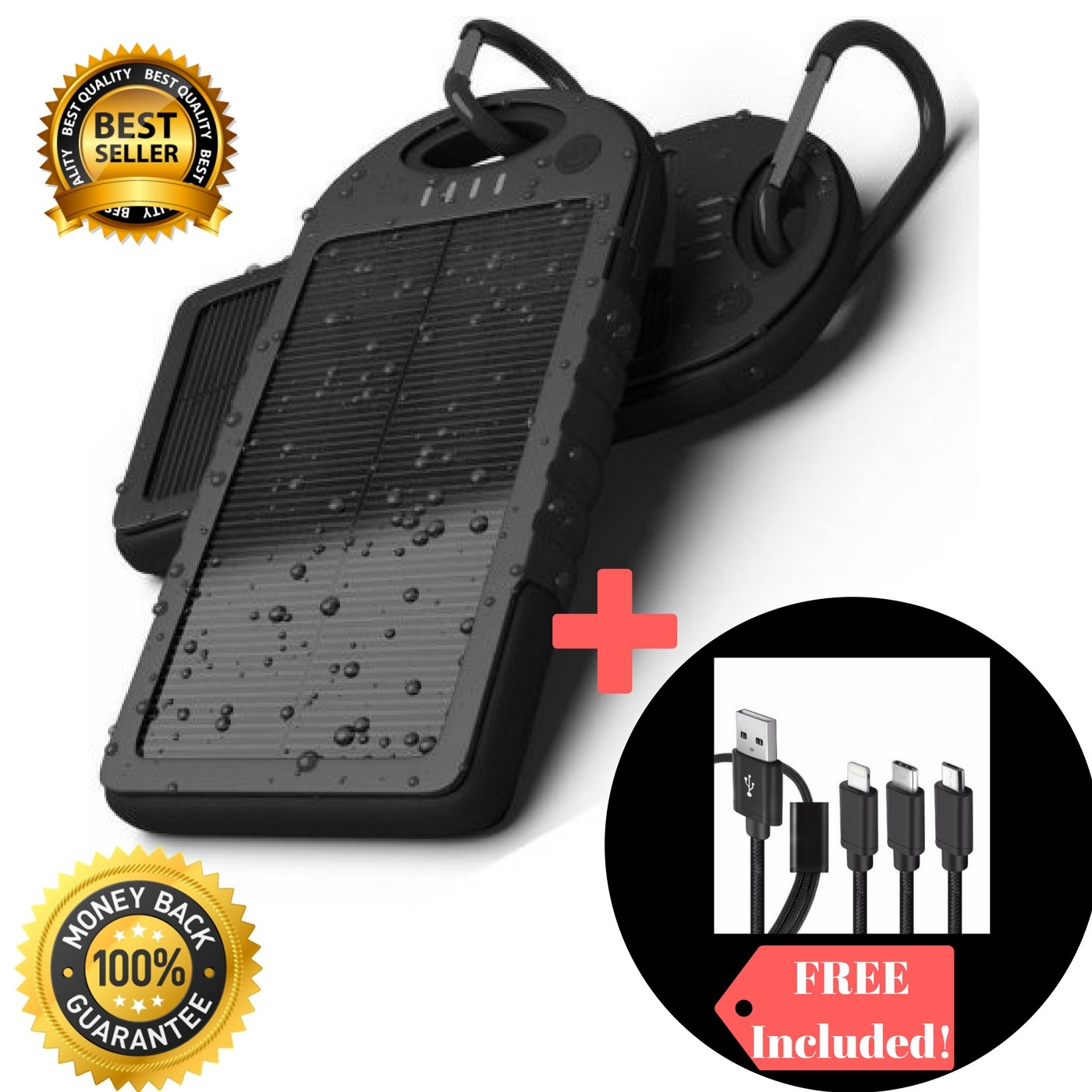 Solar Powered Charger Battery Pack For Phone Tablet 5000Mah and 3 in 1 USB Charging cable, shock proof, waterproof