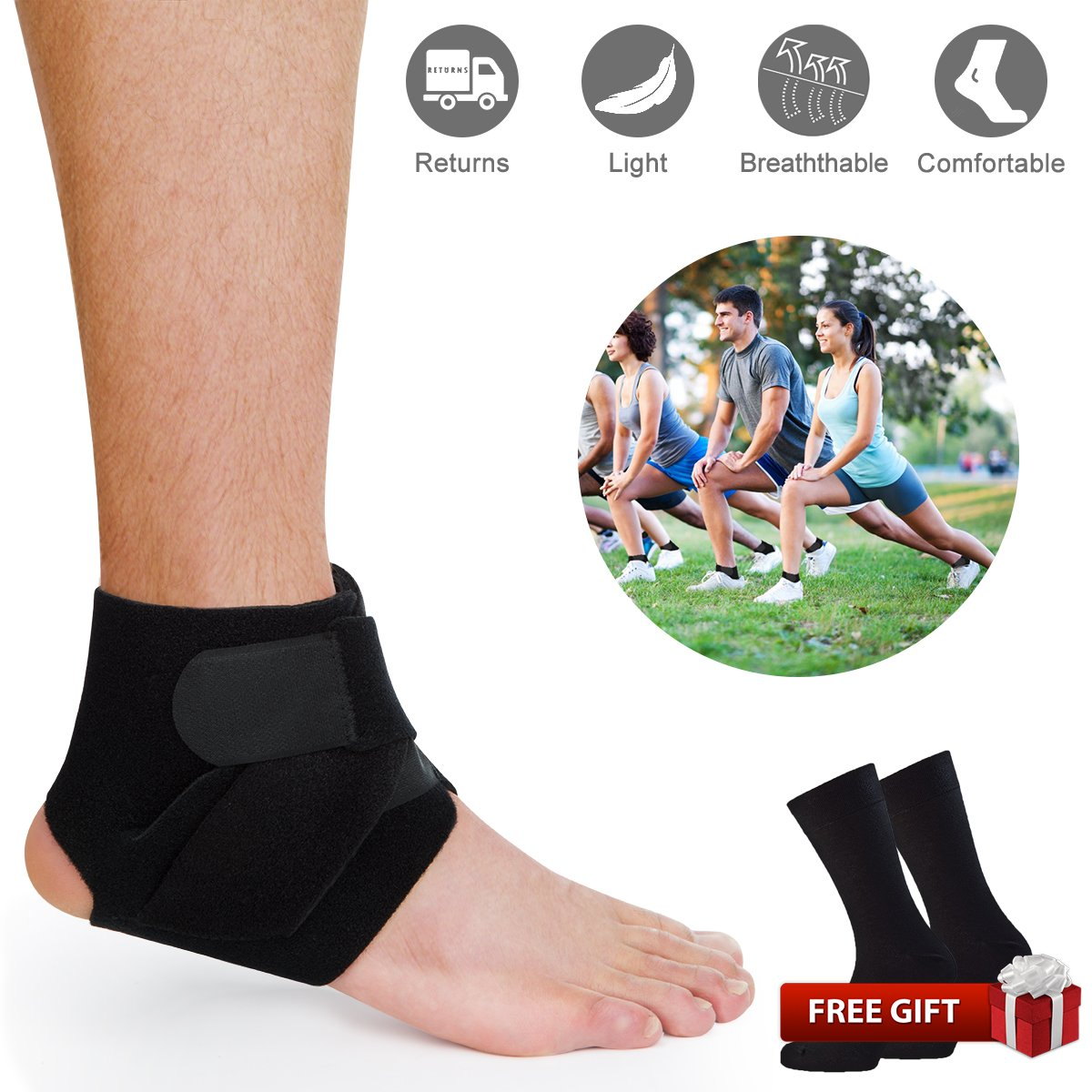 Ankle Support Brace, Ankle Stabilizer Brace Comfortable Breathable Ankle Brace Foot Sleeve Plantar with Plantar Fasciitis Foot Socks for Sports Protects Against Chronic Ankle Strain Sprains Fatigue
