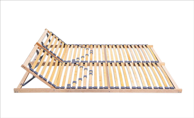ECOFORM Lattenrost mit Integrierter KOPFTEILVERSTELLUNG und Härtegradregulierung 120 140 160 180 200x200cm, Federholzrahmen Bettrahmen, Kopfteil Verstellbar - vom Hersteller (180 x 200 cm)