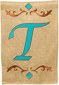 Evergreen Burlap Teal T Monogram Garden Flag, 12.5 by 18 inches