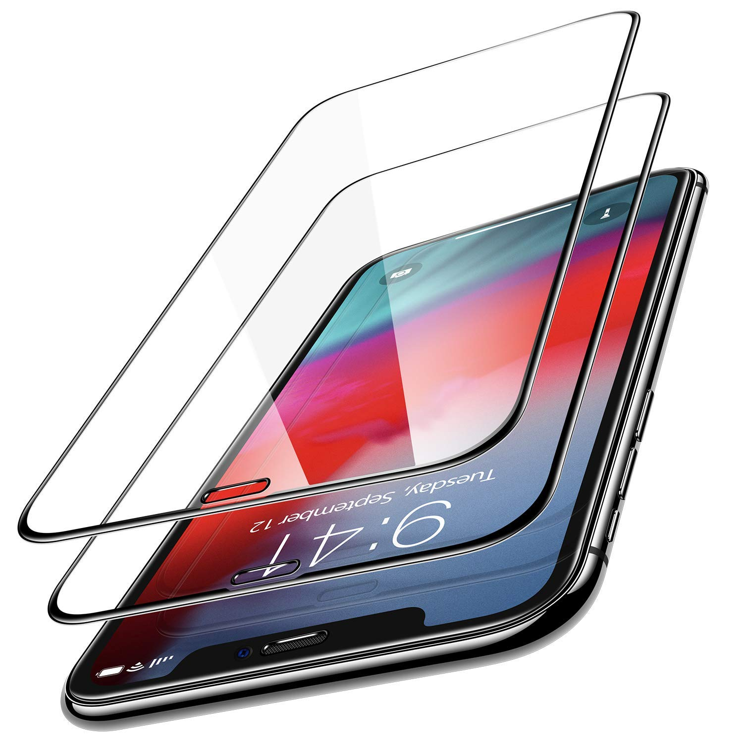 iPhone Xs Max Screen Protector, 0.25mm [Full Coverage] Tempered Glass Screen Protector for iPhone Xs Max (6.5 inch),Scratch Proof and Easy Installation with Frame, (Ultra Clear, 2-Pack) by VDTG