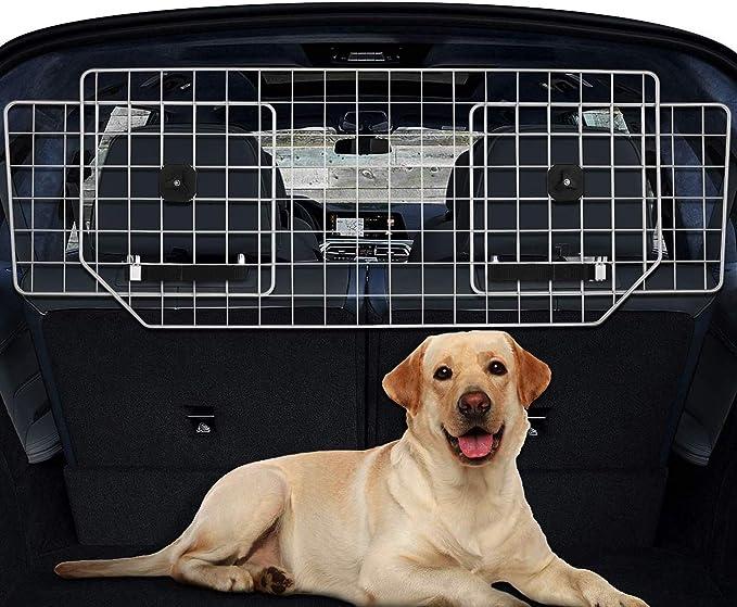 Sailnovo Rejilla para Perros Rejilla Seguridad para Coche Rejilla Metálica para Transporte de Perros en Coche Ancho Ajustable de 91cm a 156 cm