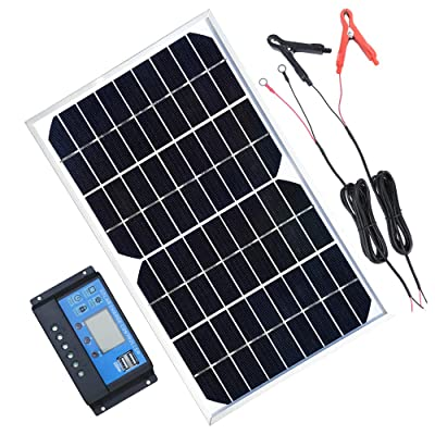 TP-solar Solar Panel Kit 10W 12V Monocrystalline Trickle Battery Charger Maintainer + 10A Charge Controller + Cable with Alligator Clip O-Ring Terminal for Car RV Vehicle Marine Boat Off Grid System : Garden & Outdoor