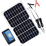TP-solar Solar Panel Kit 10W 12V Monocrystalline Trickle Charger Battery Maintainer + 10A Solar Charge Controller + Cable with Battery Clip O-Ring Terminal for RV Marine Boat Off Grid System