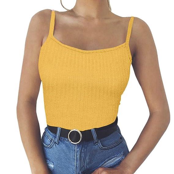 Moda Mujeres Sólido Blusa Halter Fuera del Hombro Camisetas sin Manga Camisola,Dama Sexy Blusa