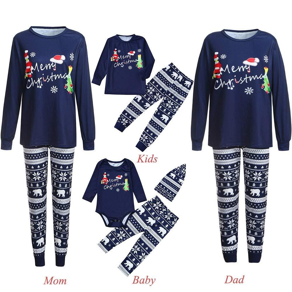 Men Women Christmas Pyjamas Family Matching Onesie Baby Top Deer Pants Clothes Outfits Couples Xmas Pjs