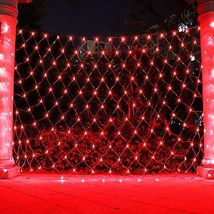 ASmile LED Net Light Mesh Lights, Tree Warp Fairy Lights Outdoor Hanging String Light for Christmas, Halloween, Garden, Walkway, Bushes Decor-6.6ft x 9.8ft(Red)