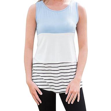 semen Femme T-Shirt sans Manche Top Haut Blouse Couture Tricolore Dentelle  Rayé Mode Loose bed53618bcbd