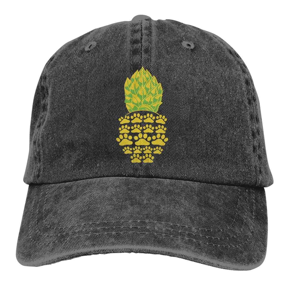 Cute Paw Pineapple Unisex Custom Jeans Outdoor Sports Hat Adjustable Baseball Cap