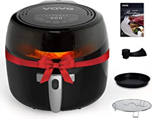 VQVG Air Fryer, Electric Fryer with Stirring Function, 7 Quart Oil-less Cooker with Observation Window, 7 Cooking Presets, Digital Touchscreen, Nonstick Frying Basket, Included Rack, Pizza Pan and Recipe Book