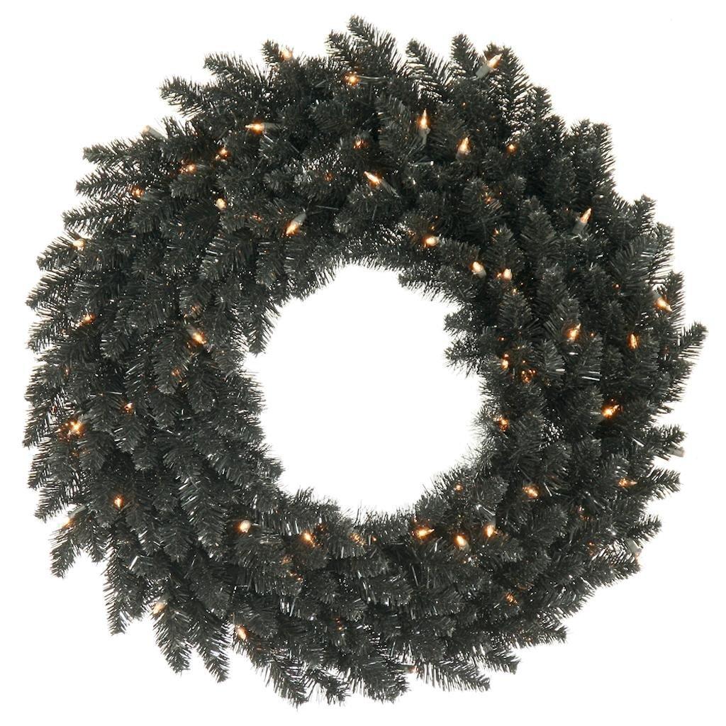 Vickerman K161831LED Wreath with 260 PVC tips & 100 Dura-lit LED Italian Style lights on Wire, 30'', Warm White/Black