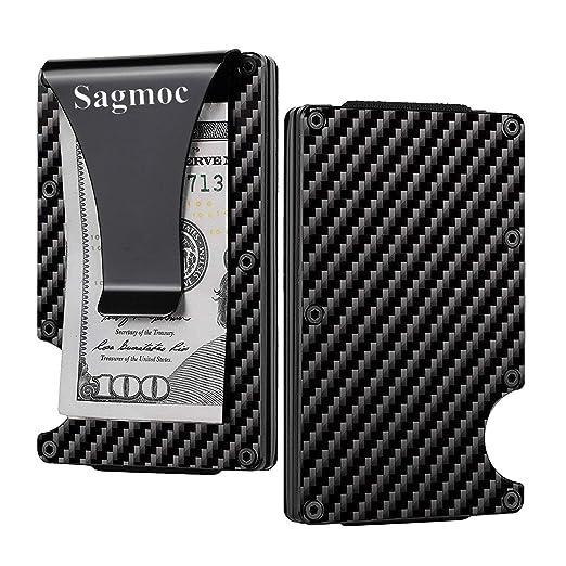 a4d8ccf3b8a6 Carbon Fiber Money Clip Wallet for Men - Sagmoc Carbon Fiber RFID Blocking  Smart Wallet,
