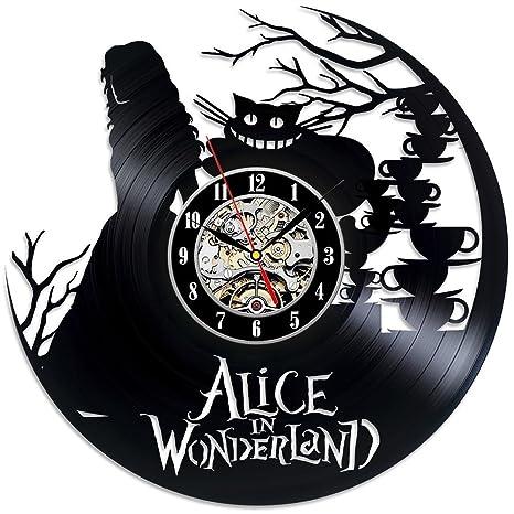 Reloj de Pared de Vinilo con Relojes de Alicia en el País de Las Maravillas