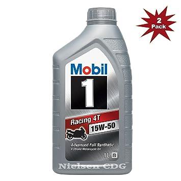 Mobil Moto Racing 4T 15 W-50 Totalmente Aceite sintético de motor 142319 2 x