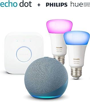 Der Neue Echo Dot 4 Generation Blaugrau Philips Hue Color E27 2 Er Starter Set Funktionert Mit Alexa Alle Produkte
