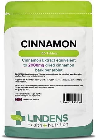 Lindens Canela 2000 mg en comprimidos | 100 Paquete | Extracto superconcentrado 30x equivalente a media cucharadita de canela: Amazon.es: Salud y cuidado ...
