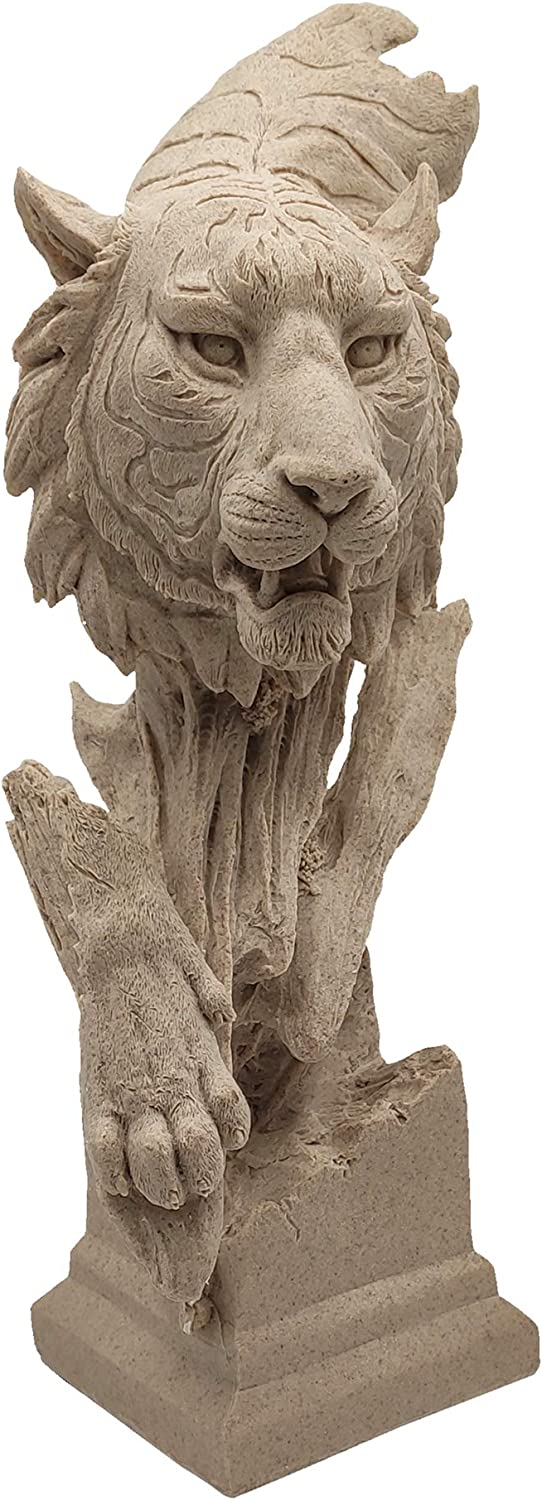 LOOYAR Resin Tiger Head Statue Sculpture Ornament Collectible Figurine Craft Furnishing for Home Décor Farm House Living Room Porch Decoration Office Desk Desktop Table Wine Cabinet Arrangement Gift