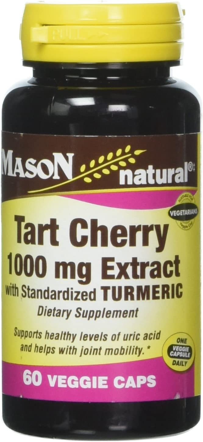 Mason Vitamins Tart Cherry Extract with Standardized Turmeric Softgels, 1000 mg, 60 Count